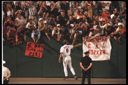 Cal Ripken and fans, Sept. 6, 1995